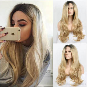 Honey Blonde Long Body Wave Synthetic Lace Wig Front Wig with Baby Hair Free Part 1B 27# Color Heat Resistant Wig for Women