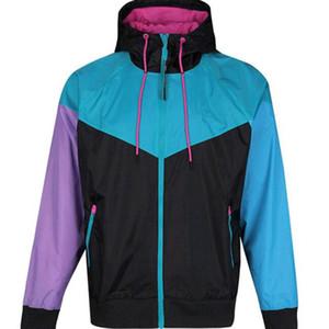 Envío gratis Otoño delgado windrunner Hombres Mujeres ropa deportiva tela impermeable de alta calidad Hombres chaqueta deportiva Moda cremallera con capucha S-2XL