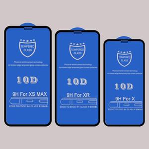 Protector de pantalla de vidrio templado 10D para iPhone XR XS MAX X 8 7 6S plus película de vidrio protectora adhesiva adhesiva de cubierta completa curvada