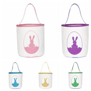 Easter Rabbit Benne Easter Bunny Borse 4colors Carino Stampato coniglio cestini cestino del fumetto Egg Candy Totes Kid Borse GGA3174-2