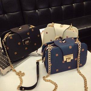Small square bag women's chain clip bag women's printing lock catch single shoulder slant span small bag
