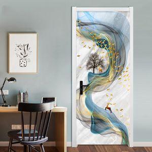 PVC Self-Adhesive Waterproof Door Sticker 3D Stereo Abstract Art Line Marble Wallpaper Living Room Bedroom Home Decor Door Paste