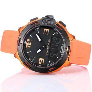 Venta al por mayor T Race Touch T081 Pantalla Altímetro Brújula Crono Cuarzo Correa de caucho negro Despliegue Corchete Naranja Relojes de pulsera Relojes de pulsera Relojes