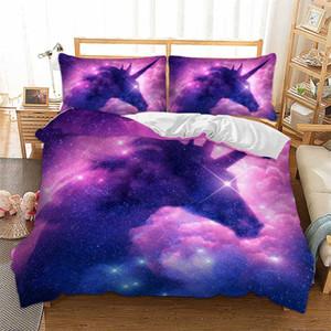 Color púrpura Juego de cama 3D Fantasy Starry Sky Unicorn Bedding Queen King Single Double 3D Unicorn Duvet Cover Set Twin Size