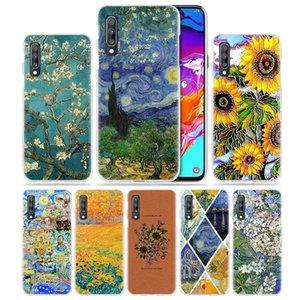 Van Gogh Gänseblümchen-Blumen-Kasten für Samsung Galaxy A50 A70 A40 A30 A20 A20e A10 A8 A6 Plus-A9 A7 2018 harte PC Löschen Phone Coque Abdeckung