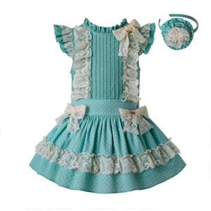 Ön satış Yaz Nane Yeşil Kızlar Parti Nokta Giysi Set Yuvarlak Yaka Çiçek Pamuk Gömlek + dantel Etek Ve Şapkalar G-dmcs201-c138 Y190518