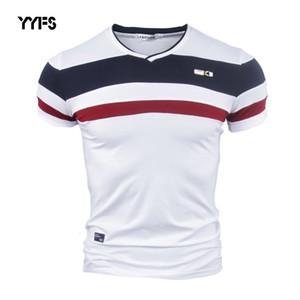 Luva YYFS Men Short camisas de T para Man 2018 New Verão 100% Vintage Cotton Pure Patchwork Tees V pescoço algodão tshirt Homme M-4XL CY200514