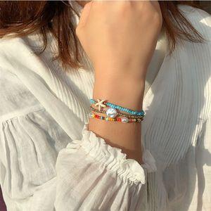 new layered colorful rice beads bracelets for women boho handmade pearl starfish charm bracelets jewelry gifts 2020