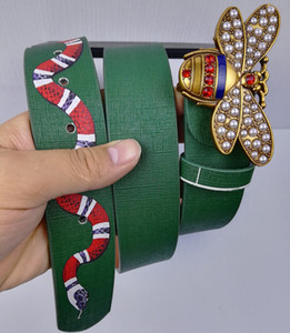 mens nueva correa diseñador para mujer cinturones de moda Piel de primera calidad abeja hebilla de cinturón de serpiente patrón de la venta caliente