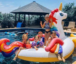 Float 200cm / 290cm aufblasbares Einhorn Giant Pool Spielzeug-Schwimmen-Ring Matratze Erwachsene Kinder Strand Wasser Family Party djs0102