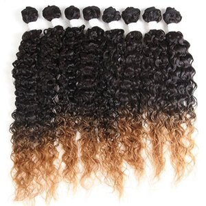 Kinky curly synthetic hair weave bundles 16-20inch 8pieces sew-In weaves ombre brown blend 30% human hair weft extension