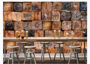 Murales fotográficos 3D personalizados papel tapiz para paredes Vintage nostálgico 3D bloque de madera papel de grano de madera wallpaper café restaurante fondo pared