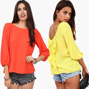 2019 Frühling Herbst Weibliche Bluse Plus Größe 5xl 6XL Hinter Quaste Bogen Chiffon Langarm Shirt Damen Sweet Tops