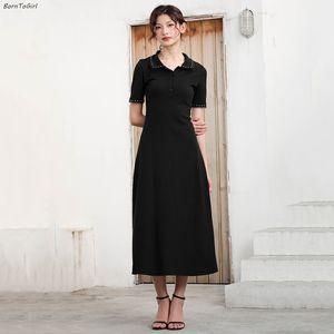 BornToGirl mujeres ocasionales adelgazan vestido largo maxi Primavera Verano Otoño de manga corta con cuello en V vestido de Negro bata ete femme 2020
