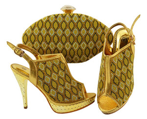 Most popular yellow women pumps with rhinestone lattice style african shoes match handbag set for dress JZC003,heel 12CM
