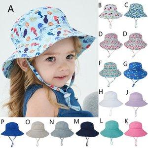 Geniş Brim Bebek Güneş Şapka Pamuk Çocuk Kepçe Cap Erkekler Kızlar Summer Sun Protection Şapka Güneş kremi Fishe Casual Çocuk