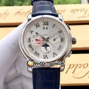 Nuovo Traditionnelle Patrimonio cassa in acciaio Big Data Automatic Mens Watch romana Mark Moon Phase blu cinturino in pelle orologi Hello_Watch 5 colori