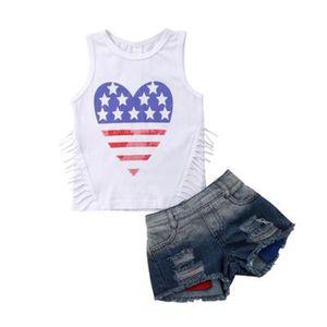 Conjunto de borlas de niña de verano Día nacional de la independencia de Estados Unidos Bandera de Estados Unidos 4 de julio Sin mangas Estrella de amor Conjunto de jeans con agujero rayado