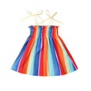 Mädchen Kleid Kleinkind Kinder Baby Mädchen Regenbogen gestreiften ärmellose Outfit Set Kleidung Overall Größe 2-6Y