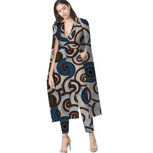 2019 vêtements traditionnels africains pour les femmes Top And Pants Set vêtements de femmes africaines Imprimer coton Dashiki Set deux pièces