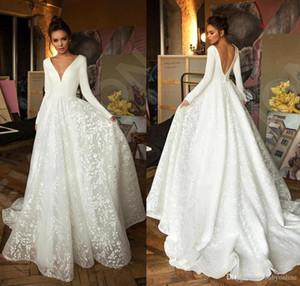 Plus récent Sexy élégant dentelle robes de mariée col en V profond à manches longues Backless robe de mariée en satin Robes de mariée Robe de mariée Appliques