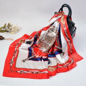 Nuevas bufandas 90 * 90cm cadena clásico euro americano remos Sra seda de la emulación de la toalla cuadrados bufandas de la bufanda al por mayor de señora Printed chal de estilo
