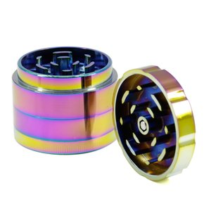50mm 4 Parts Iceblue Color Rainbow Zinc Alloy Grinder Chamfer Top Cover Teeth Spice Tobacco Crusher Herb Grinder