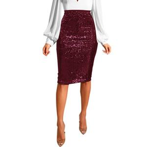 Новые женщины Sequined длиной до колен юбка Sexy Тонкий Тонкий высокой талией Push Up Hip Юбка Элегантный Party Club Дамы Юбка