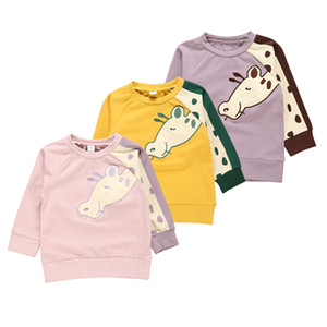 Baby Infant Girl Designer Clothes Kids Long Sleeve Polo Shirt Round Neck Cartoon Giraffe Print Spring Autumn Tops