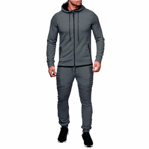 Laamei 2019 New Mens Spring Autumn Hoodies Tracksuit Set Male Zipper Pleated Sweatshirt Sweatpants High Street Jacket Sets M-3XL