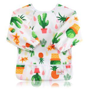 Ohbabyka Bavaglino alimentazione shirt manica lunga impermeabile Pittura Disegno BibsBurp con Pocket Baberos Impermeables bambino Slabber