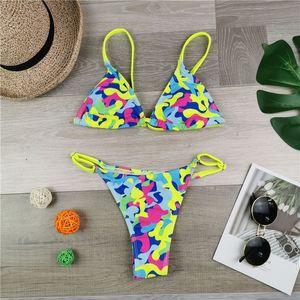 Для женщин 3D цветочные Leopard Printind Bikibis 2pcs Дизайнер Sexy Тонкий Пляж одежды Feamlse Тонкий ремешок Swimwear