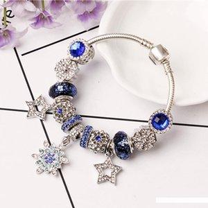 Personalidade Moda Micro-Set oco estrela de cinco pontas Pendant Pulseira criativo Blue Crystal bracelete frisado