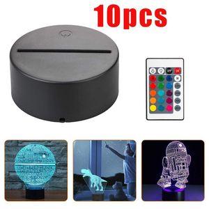 3D Night LED Light Lamp Base, LED 3D Illusion Night Lights, 7 Colors Changing for bedroom child room living shop cafe office