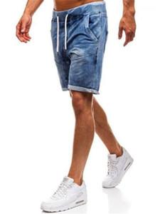 Designer Knee Length Jeans Casual Solid Color Straight Pants Fashion Washedt Slim Jeans Men Clothing Men