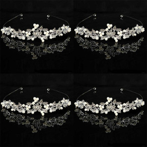 Wedding Pearl Rhinestone Hair Hoop Woman Set en taladro Pelos finos Aros Flower Leaf Modelling Headwear 6 8mr L1