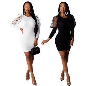 Femmes Dot Mesh lambrissé Robe courte à manches longues New Arrived ras du cou mince Robe moulante Noir Blanc Casual Robe Automne