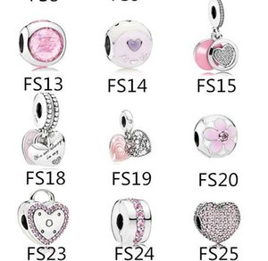Authentic 925 Sterling Silver Fits Pandora Bracelet Pink Beads Love Charms For European Snake Charm Chain Necklace Fashion DIY Jewelry