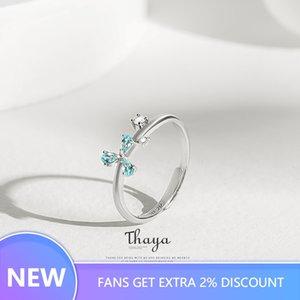 Thaya Azul Pétala Jóias ajustável anel 925 Anel de Prata Cubic Zircon cristal redondo anéis para mulheres presente de noivado
