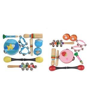 Strumenti 10pcs Orff musicali dei bambini stabiliti prima infanzia musica a percussione giocattolo Combinazione Kindergarten sussidi didattici