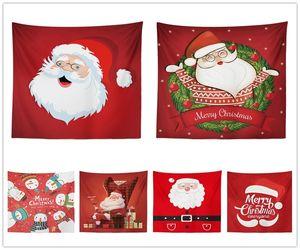 Buon Natale Babbo Natale Stampato Tovaglia Sfondo Arazzi Decorativi Asciugamano Da Spiaggia In Poliestere Per Decortaion Partito 16kx2 E1