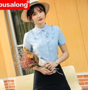 2020 white solid color Women Formal Short Sleeve Body Sexy Tops Notched Collar Shirts and Blouses plus size blue 4XL