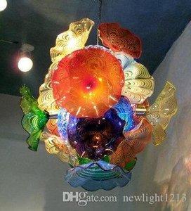 LED 매달려 무라노 유리 플레이트와 디자이너 펜던트 램프 수공예 유리 샹들리에 펜던트 호텔 가정을위한 램프 점등