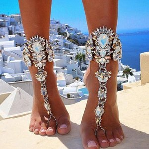 Women Crystal Luxury Statement Anklets with Adjustable Chain Beach Accessories Sexy Summer Anklet Chain Gift for Love
