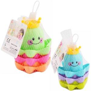 3pcs / Seti Çocuk Ocean Life İstifleme Bardaklar Banyo Oyuncak Çocuk Bebek Boys Renk Random için Eğitim Sevimli komik Banyo Oyuncak oyna