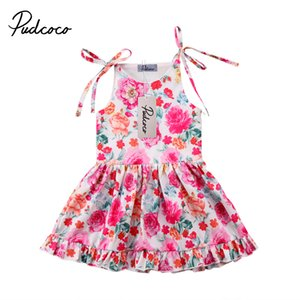 Pudcoco Lovely enfants layette fille Coton Fleurs Princesse Tenues Robe sans manches