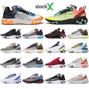 With Socks React Element 55 87 Undercover Men Women running shoes Tour Yellow Bright Blue Orange Pee mens designer sneaker trainer shoes