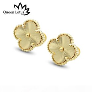 Queen Lotus 2020 High Quality Gold Color Textured Stud Earrings Flower Women Titanium Steel Earrings For Wedding Gift Whosale