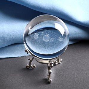 Miniature 6CM Laser gravado Sistema Solar Ball 3D Planets Modelo Esfera de vidro Globe Ornament Home Decor presente para Astrophile