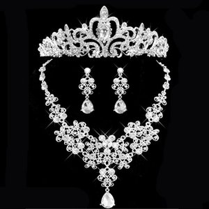 Crown bridal jewelry necklace and earring set tiara rhinestone wedding Accessories